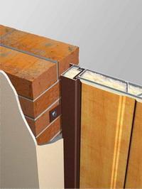 Дверной блок одной стороной упирается в стену, другой – наличником внакладку на стену. Оптимальный технологический зазор по периметру при данном способе установки 5 мм на сторону для наиболее качественного оштукатуривания проема. Допускается колебание данного зазора от 0 до 15 мм.