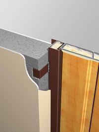 Рекомендуется для проемов с толщиной стен без штукатурки от 160 мм. Крепление через дверную коробку. Дверной блок полностью углублен в проем. Монтажные стержни забиваются через отверстия для противосъемных фиксаторов в петлевой стойке дверной коробки. В замочной стойке сверлятся три отверстия диаметром 22 мм с соответствующими координатами. Монтажные стержни привариваются к дверной коробке через эти отверстия.