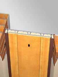 Самый устойчивый к взлому способ установки. Минимальная толщина стен без штукатурки при данном способе установки 210 мм. Крепление на монтажных пластинах. Дверной блок полностью углублен в проем.